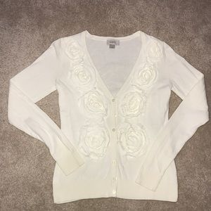 LOFT Cardigan with Floral Detail